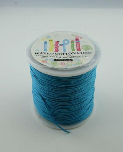Gewachstes Baumwollband 2 Meter Bändchen  1 mm dick  verschiedene Farben