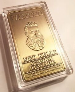 NED-KELLY-034-Wanted-034-1oz-Ingot-Finished-in-999-Antique-Gold-Bush-Ranger-Guns