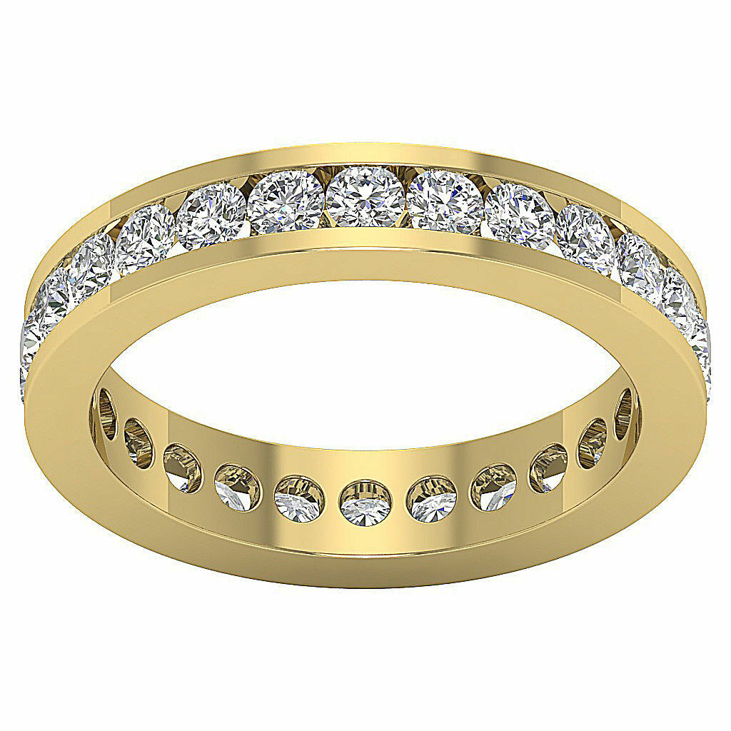 Eternity Wedding Ring VS1 F 1.50Ct Genuine Diamond Yellow gold 3.20MM Appraisal