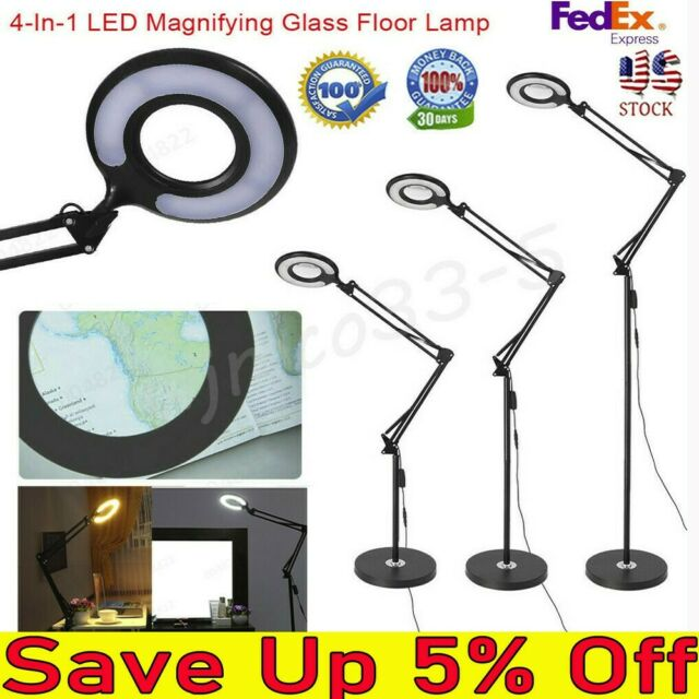 4 In 1 LED Magnifying Glass Floor Lamp With Clamp WhiteWarm