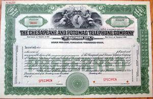 1920-SPECIMEN-Stock-Certificate-Chesapeake-amp-Potomac-Telephone-Co-Baltimore