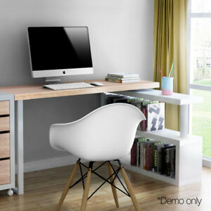 Rotary-Corner-Office-Computer-Desk-Table-w-Bookshelf-Veneer-Finish-140cm-Length
