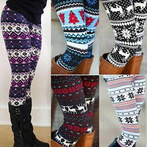 Women-Christmas-Leggings-Elk-Snowflake-Printed-Stretch-Slim-Xmas-Trousers-Pants