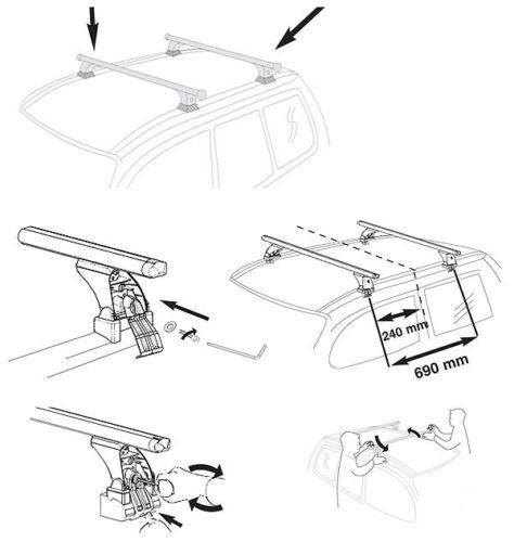Dachträger AURILIS ORIGINAL für Toyota Corolla Verso Steilheck 5Türer 04-09