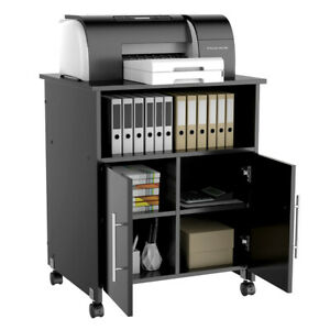 Details About Collection Printer Stand Mobile Desk Cabinet Home Rolling Cart Storage Cupboard