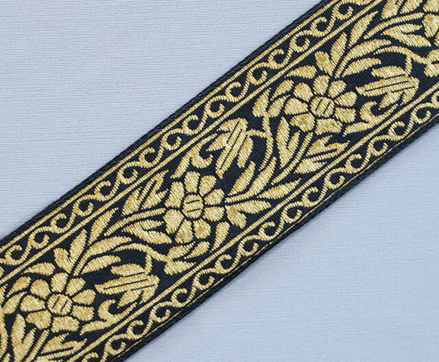 "Floral, Jacquard, Ribbon Trim. Black & Metallic Gold   3 Yards.  1.5"" Wide"