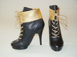 Betsey-Johnson-Black-Gold-Leather-Lace-Up-4-034-Spike-High-Heel-Ankle-Boots-6-M