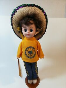 VINTAGE-GAMBINA-Mardi-Gras-With-Stand-DOLL-NEW-ORLEANS-12-in-tall