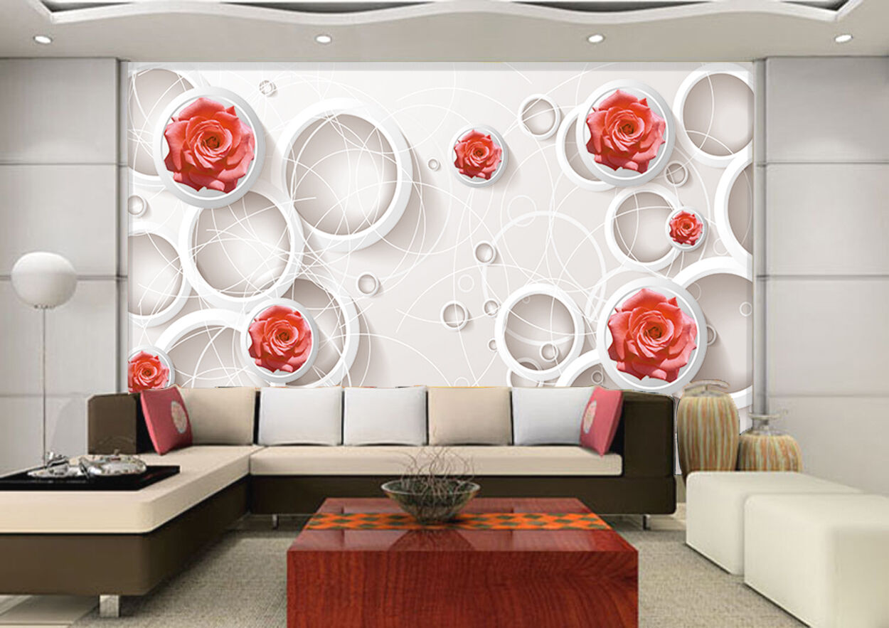 3D rot Fleur 452 Photo Papier Peint en Autocollant Murale Plafond Chambre Art