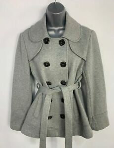 WOMENS-NEXT-LIGHT-GREY-DOUBLE-BREAST-BUTTON-amp-BELT-CASUAL-JACKET-COAT-SIZE-UK-12