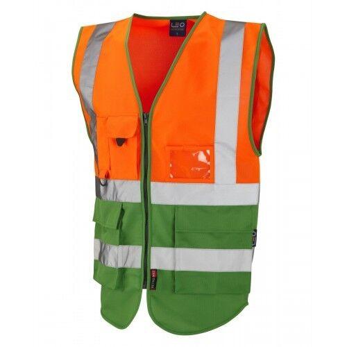 Leo Workwear Lynton CLASSE 1 Hi Vis Arancione/Verde Smeraldo Superiore Gilet