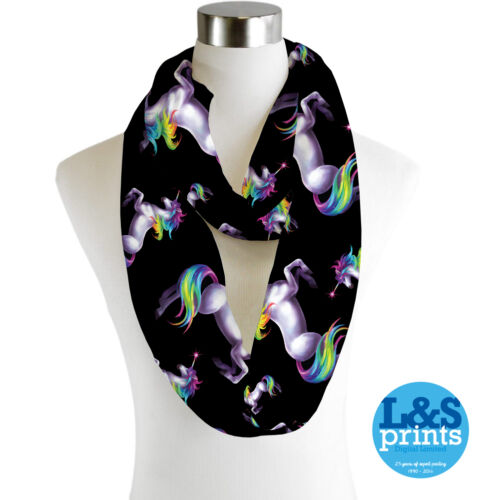 Infinity Scarf Jersey Or Chiffon Rainbow Unicorn 2 Unisex Fashion Loop Scarves