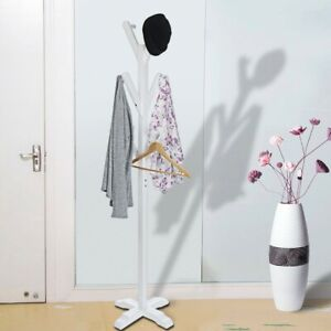 Details about Freestanding Solid Wood Hanger Bedroom Clothes Rack Hanging  Clothes Three