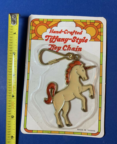 Vintage 1970s Unicorn Metal Stain Glass Key Chain NOS 70s