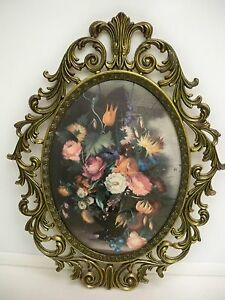 VINTAGE-ITALIAN-METAL-FRAME-WITH-FLORAL-PICTURE-SCROLLING-ORNATE-WITH-CONVEX-GL