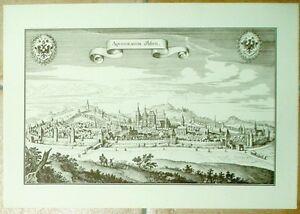 Aachen-alte-Ansicht-Merian-Druck-Stich-1650-schw-Staedteansicht-Westfalen-Rhein