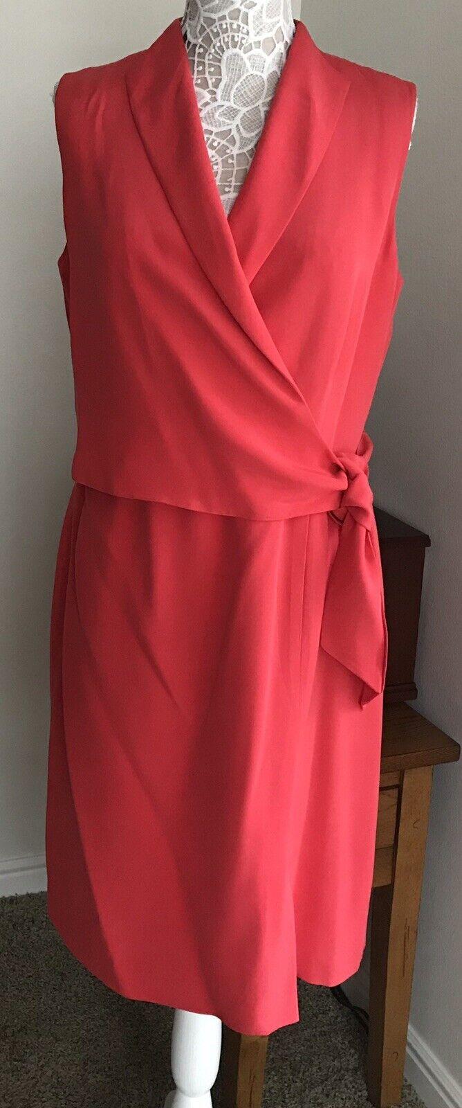 NWT Jones New York Dress Coral 100% Silk Back Zip Side Tie Wrap Dress SZ 14