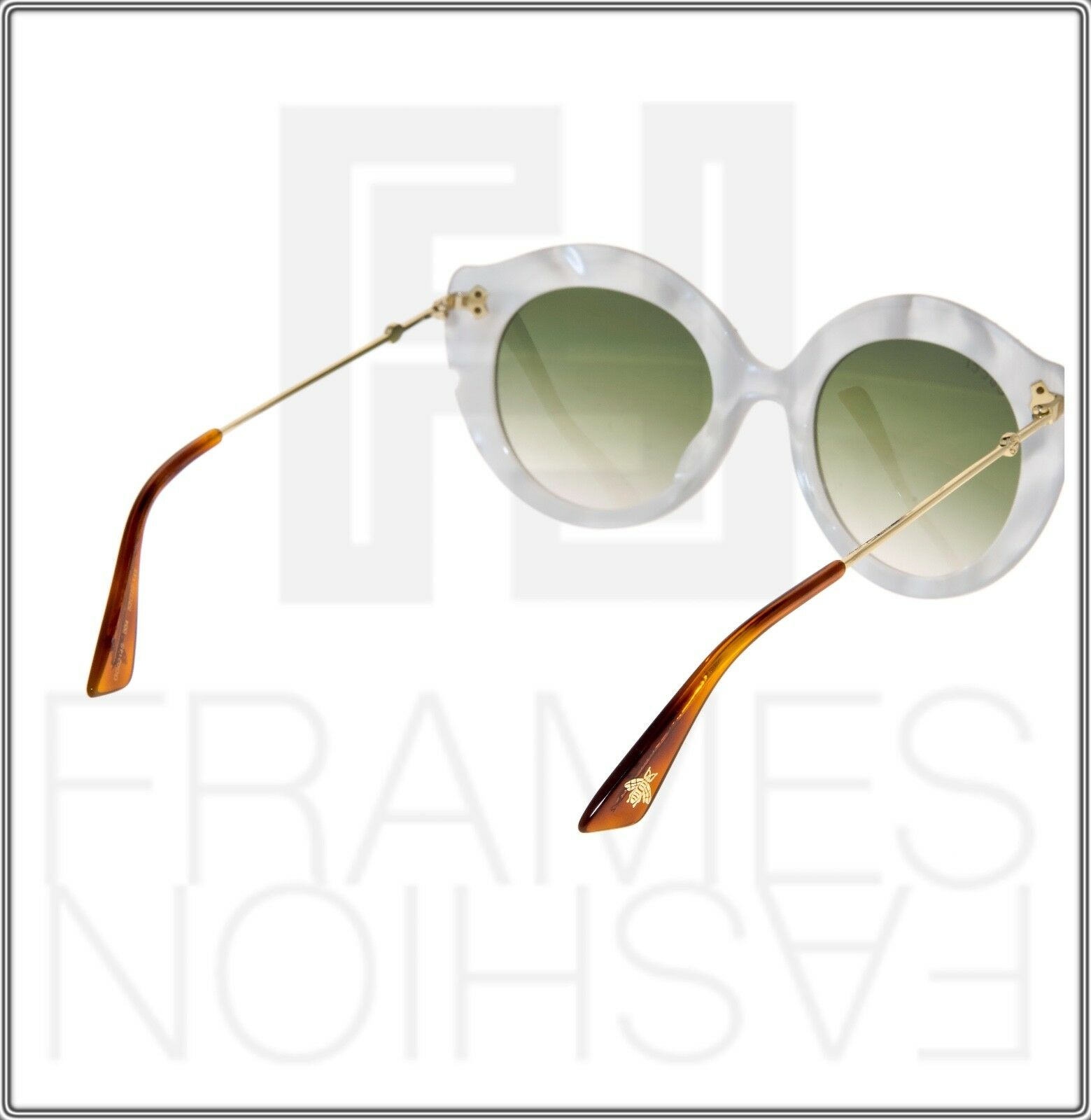 7aaa909a61 Gucci Crystal Lips 0214 Cat Eye White Pearl Green Gradient Sunglasses  Gg0214s for sale online