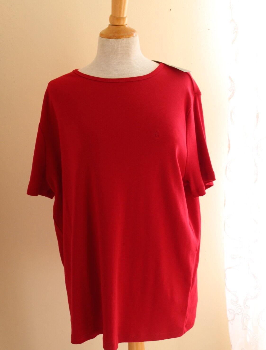 NWT Ralph Lauren -Sz 2X Elegant Rich rot 100% Cotton Logo T-Shirt Top