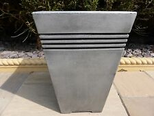 Tall Large Square Grey Resin Garden Planter Pot 30x30x45cm  Indoor Outdoor