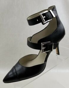 Michael-Kors-Tamara-Heels-Straps-Buckle-Logo-Womens-Black-Leather-Shoes-Sz-6-5M