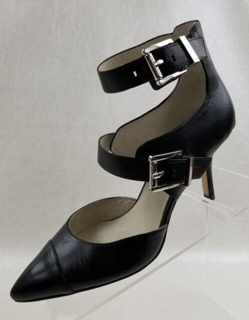 Michael Kors Tamara Heels Straps Buckle Logo Womens Black Leather Shoes Sz 6.5M