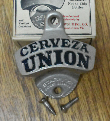 "NOS Vintage Starr X /""Cerveza Union/"" Metal Bottle Opener w//Box /& Screws NICE L5"