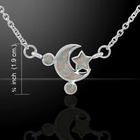 Moon And Star Necklace With Opal Inlaid Sterling Silver Necklace By Peter Stone