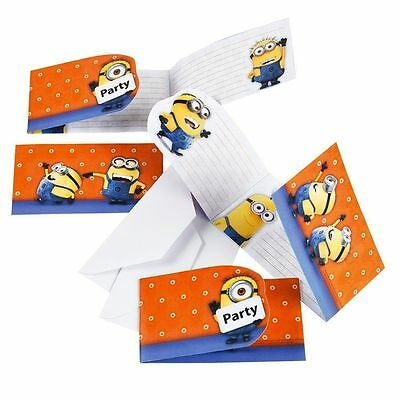 DESPICABLE ME MINION BIRTHDAY PARTY INVITATIONS & ENVELOPE PACK LOLLY LOOT BAG