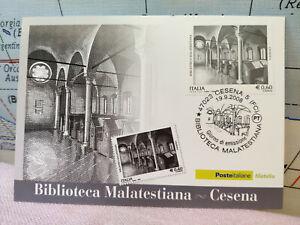 Aimable Cartolina Timbro 2008 Poste Biblioteca Malatestiana Cesena Filatelia L5 Apparence EsthéTique