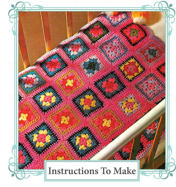 Vintage crochet pattern-how to make an easy granny square baby cot blanket,throw