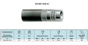 Marine Exhuast & Fuel Filler Hose 50mm A1 ISO 7840