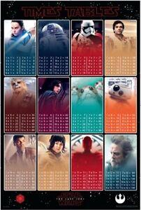 Star-Wars-8-The-Last-Jedi-Times-Tables-POSTER-61x91cm-NEW-Kylo-Ren-Rey-Luke