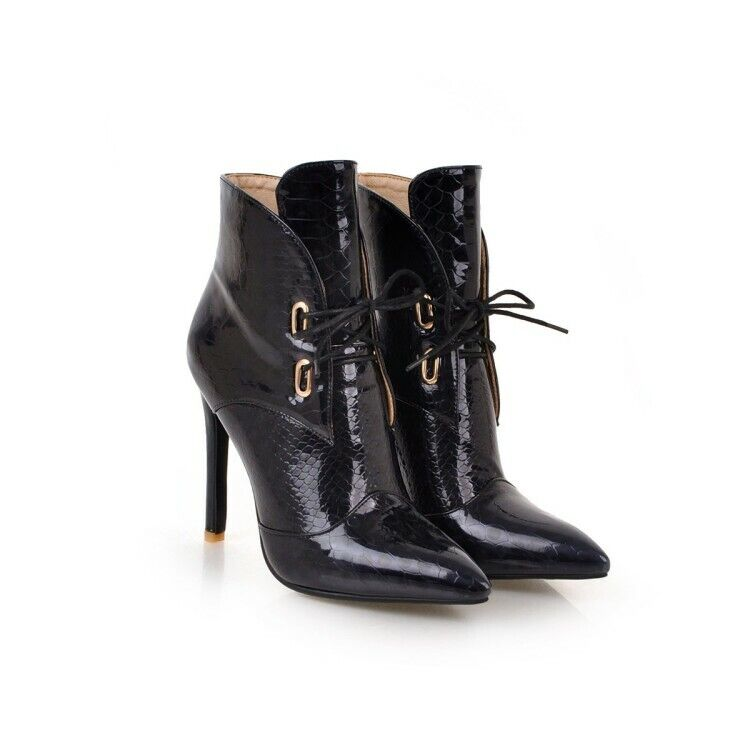 2019 Fashion Ladies High Heel shoes Lace Up Stilettos Pointy Toe Ankle Boots New