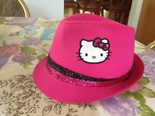 Sanrio Hello Kitty Girl Black Pink Sparkle Glitter Band Top Hat Cap Fedora New