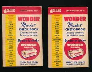 WONDER-BREAD-Two-1940s-Market-Check-Book-Advertising-Pocket-Note-Books