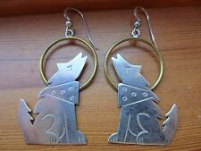 Sterling C.Hoskie Signed Brass VTG Navajo Howling Wolf Moon Hook Drop Earrings