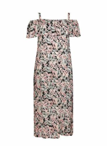 Plus Size 24 Evans Floral Print Overlay Cold Shouler Maxi Dress BNWT