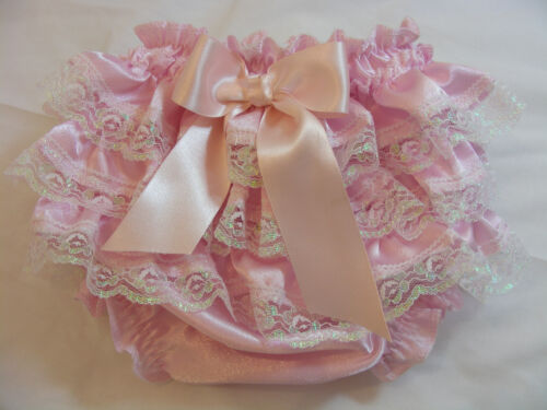 REBORN BABY GIRL OOAK PINK SATIN FRILLY LACE ROMANY/GYPSY KNICKERS  ALL SIZES