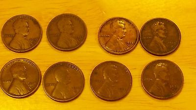 1910s,1911s,1912s,1913s,1914s,1915s,1922d,1924d, semi key lincoln wheats