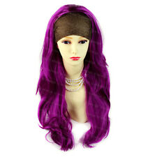 Wiwigs Purple Red Long Layered Wavy 3/4 Fall Hairpiece Half Ladies Wig