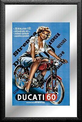 Ducati Moto Specchio Ragazza Mirror Specchio A Parete Bar Pub 30cm-