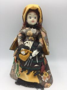 Vintage-Doll-Papier-Mache-Head-Cloth-Body-Cape-Apron-9-5-034-Unique-Handmade-Estate