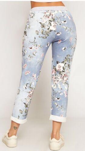 Débardeur Femme Floral Rose Imprimé Turn Up Pantalon Summer Beach Trouser Pants