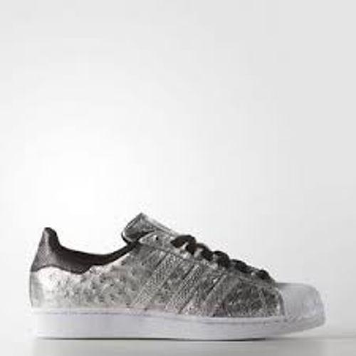 Hombre Adidas Superstar Plata Cuero Negro blancoo AQ4701 Varias Tallas