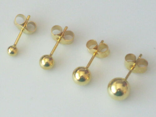 Pair of 9ct Gold Plated 925 Sterling Silver Ball Stud Earrings Multi Sizes