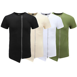 Hip-Hop-Long-Extended-Cotton-T-Shirt-Zipper-Side-irregular-Men-tops-Man-Summer