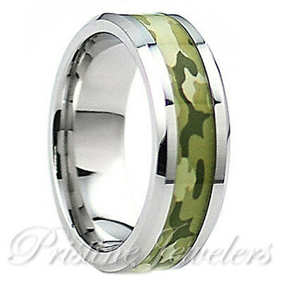 8mm Titanium Green Soldier Army Camo Ring Silver Mens Wedding Band or Engagement