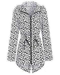 Ladies Girls Clear Showerproof Festival Raincoat Mac See Through Jacket Funky