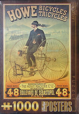 D Toys HOWE BICYCLES TRICYCLES 1000 pc Jigsaw Puzzle Vintage Ad Poster